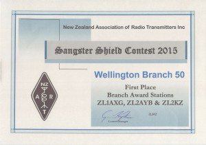 Sangster Shield Branch Award Certificate