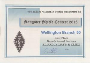 Sangster Shield Branch Award Certificate